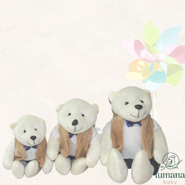 Trio de Pelúcias Para Nichos - Urso Paletó