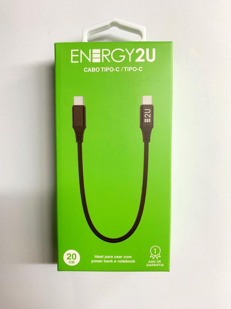 Cabo Tipo C/Tipo C 20cm Energy2u  - Baratinho Online