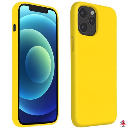 Capa Case Aveludada P/ iPhone 12 Pro Max - Encaixe Perfeito Amarelo   - Baratinho Online
