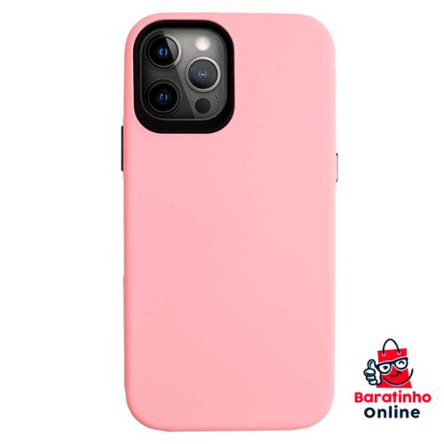 Capa Case Aveludada P/ iPhone 12 Pro Max - Encaixe Perfeito Rosa  - Baratinho Online