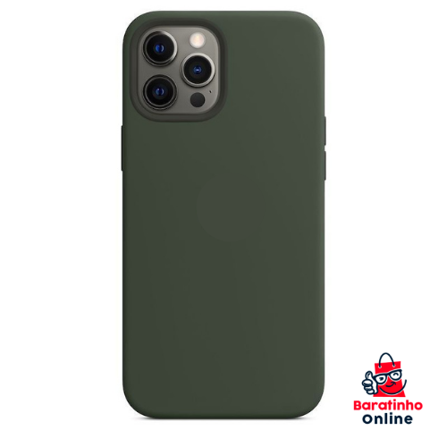 Capa Case Aveludada P/ iPhone 12 Pro Max - Encaixe Perfeito Verde  - Baratinho Online