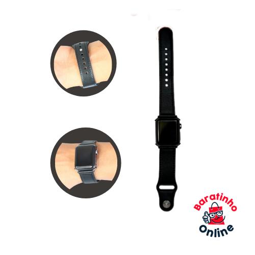 Pulseira  Apple Watch de Couro / compatível 38 40 42 44m Serie 1 2 3 4 5 Preto  - Baratinho Online