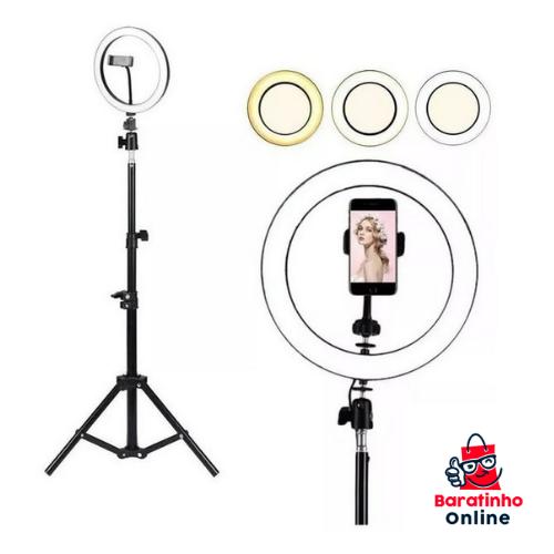 Ring Light Led Iluminador 26cm Completo + Tripé 2.1m  - Baratinho Online
