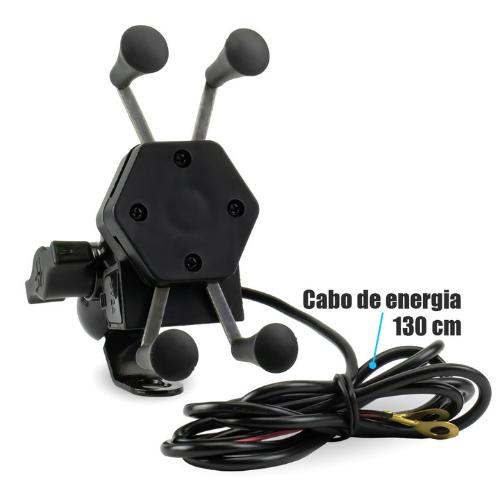 Suporte De Celular Para Moto Com Carregador Usb Universal  - Baratinho Online
