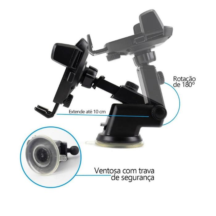 Suporte Veicular Celular /GPS Gruda Painel Automático  - Baratinho Online