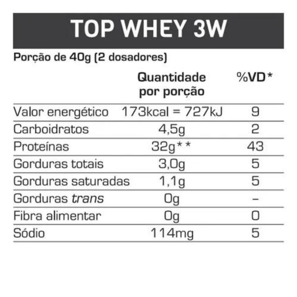 TOP WHEY 3W NATURAL POTE 900G BAUNILHA  - Baratinho Online