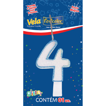 VELA DE ANIVERSARIO  GLITTER AZUL N°4  - Baratinho Online