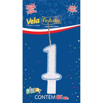 VELA DE ANIVERSARIO  GLITTER AZUL N° 1  - Baratinho Online