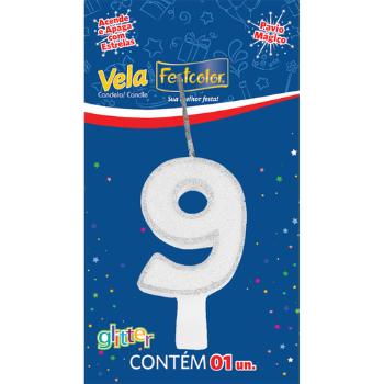 VELA DE ANIVERSARIO  GLITTER BRANCO N°9  - Baratinho Online