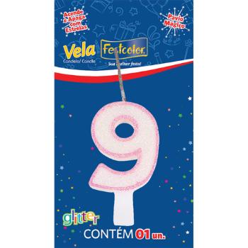 VELA DE ANIVERSARIO GLITTER ROSA N°9  - Baratinho Online