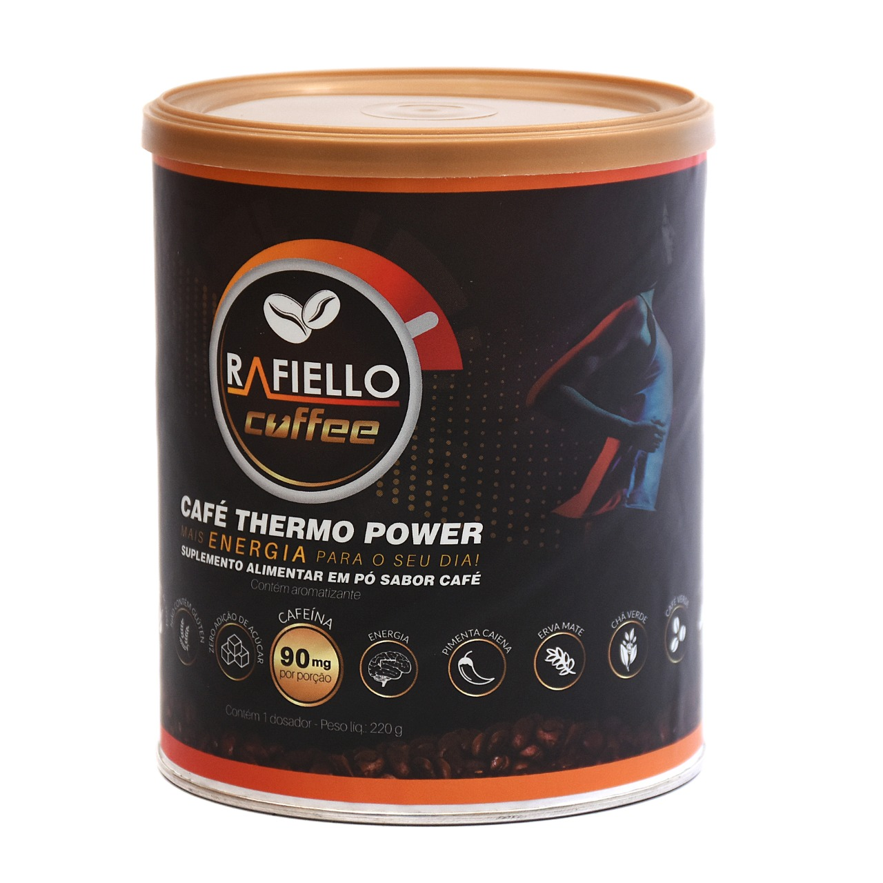 2 x Café Termogênico Vegano Funcional Pré Treino  Rafiello Coffee  S/glútem Zero Lactose 220g Kit 2 unidades + 2 xícaras de 330ml
