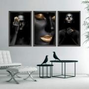 Quadro Canvas Mulher Negra Gold