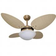 Ventilador Teto Volare Dourado Pétalo Palmae Natural 127v