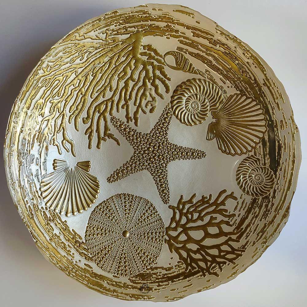 Centro de Mesa Decorativo Aquarium Perola com Ouro