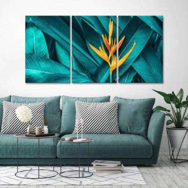 Quadro Canvas Folhagem Azul