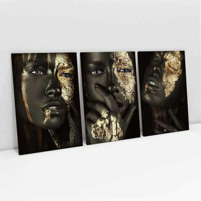 Quadro Canvas Mulher Black Gold