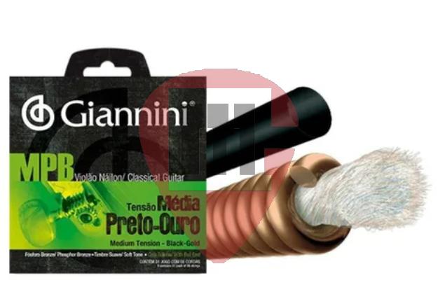 Encordoamento Giannini Violão MPB Nylon Preto-ouro