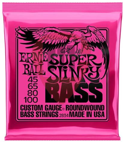 ENCORDOAMENTO RNIE BALL 045-100 P/ BAIXO 4 CORDAS SUPER SLINKY NIQUEL