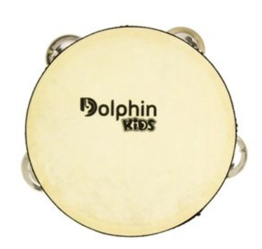 Pandeiro Infantil 8 pol de Madeira com Pele Animal Dolphin
