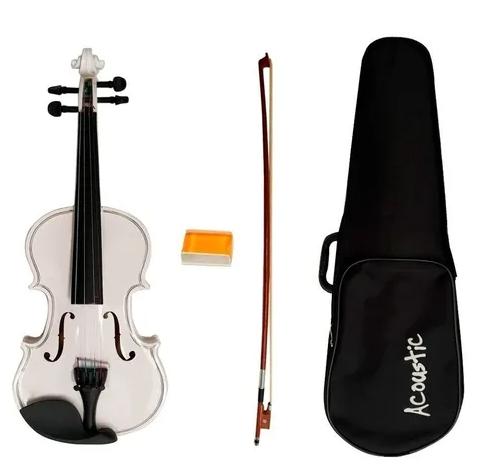 Violino Infantil 1/4 Acoustic Branco Vmd14 + Arco, Breu, Case.