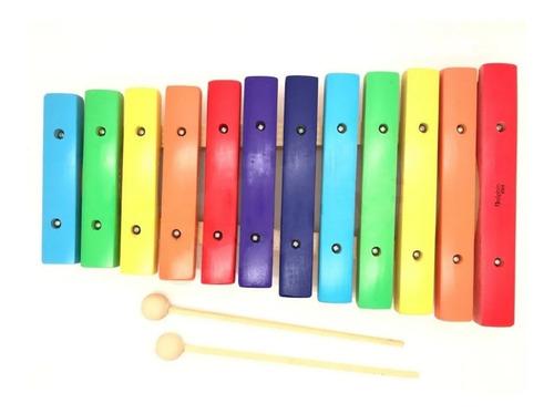 Xilofone Infantil C/12 Notas Colorido Dolphin