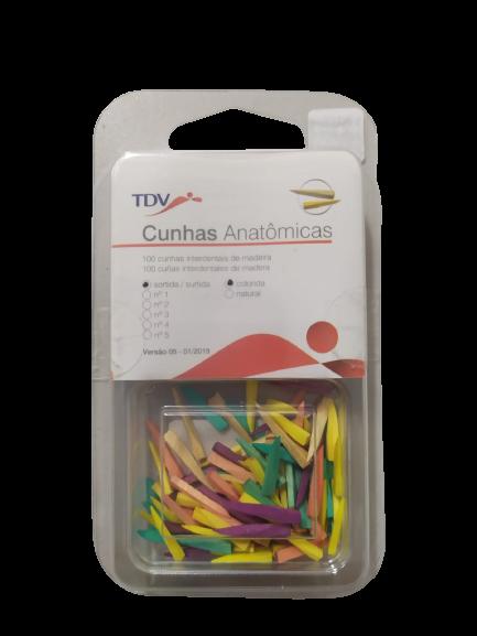 CUNHA ANATOMICA INTERDENTAL MADEIRA SORTIDA - COLORIDA C/100UNID - TDV
