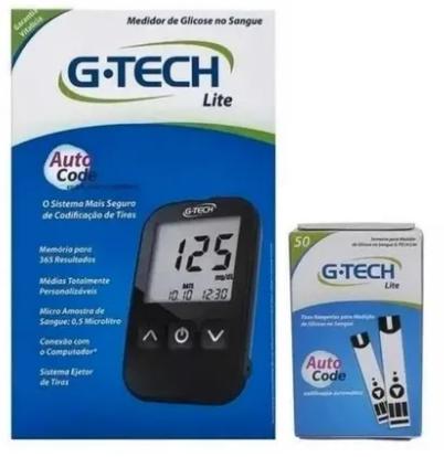 Kit Medidor de Glicose + 50 Tiras Reagentes G-tech Lite