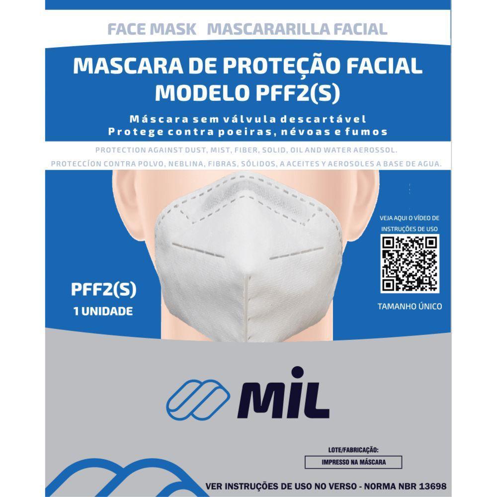 Mascara De Proteção Facial PFF2 Sem Válvula Descartável c/1 Unidade