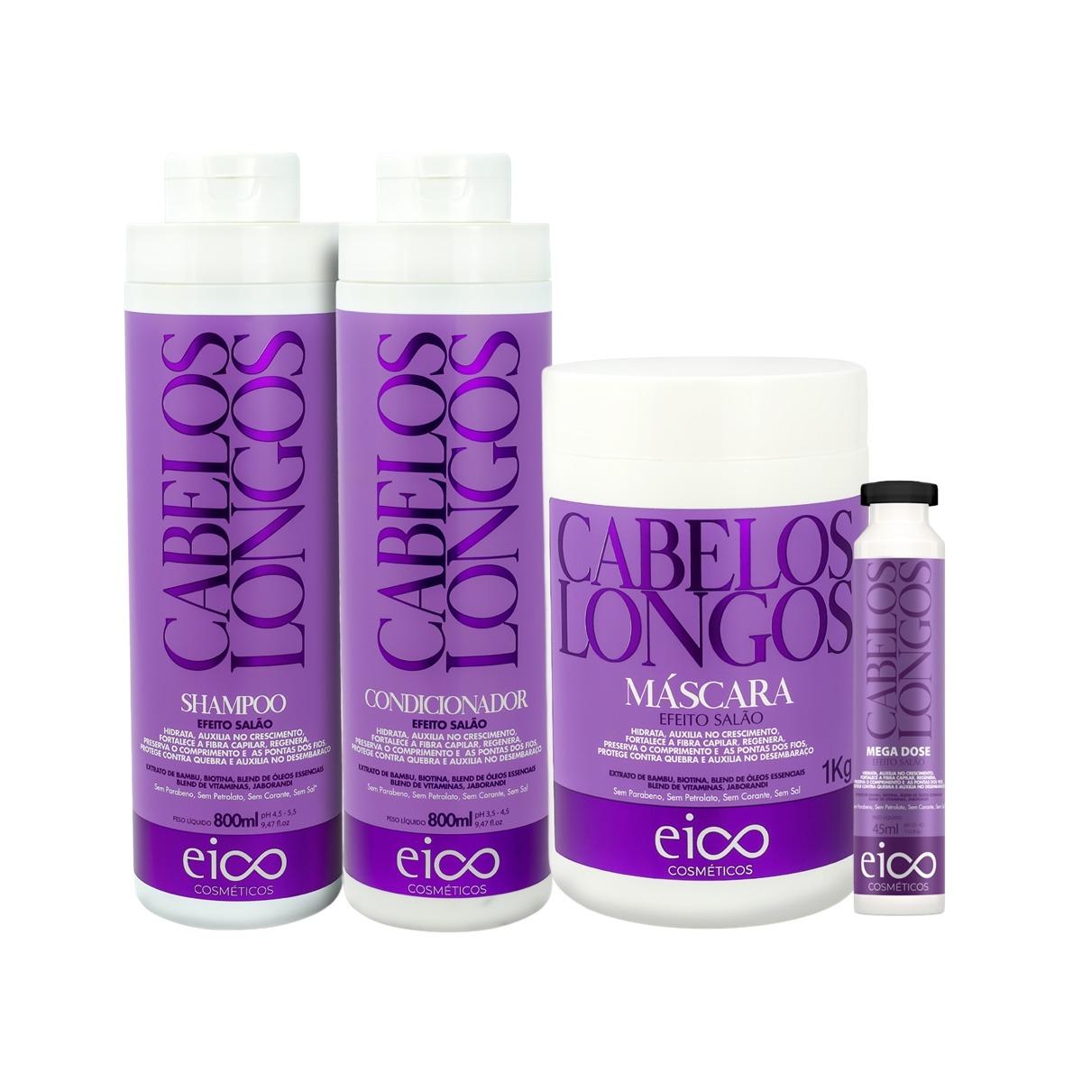 Eico Kit Cabelos Longos Sh + Cond 800ml + Máscara + Ampola