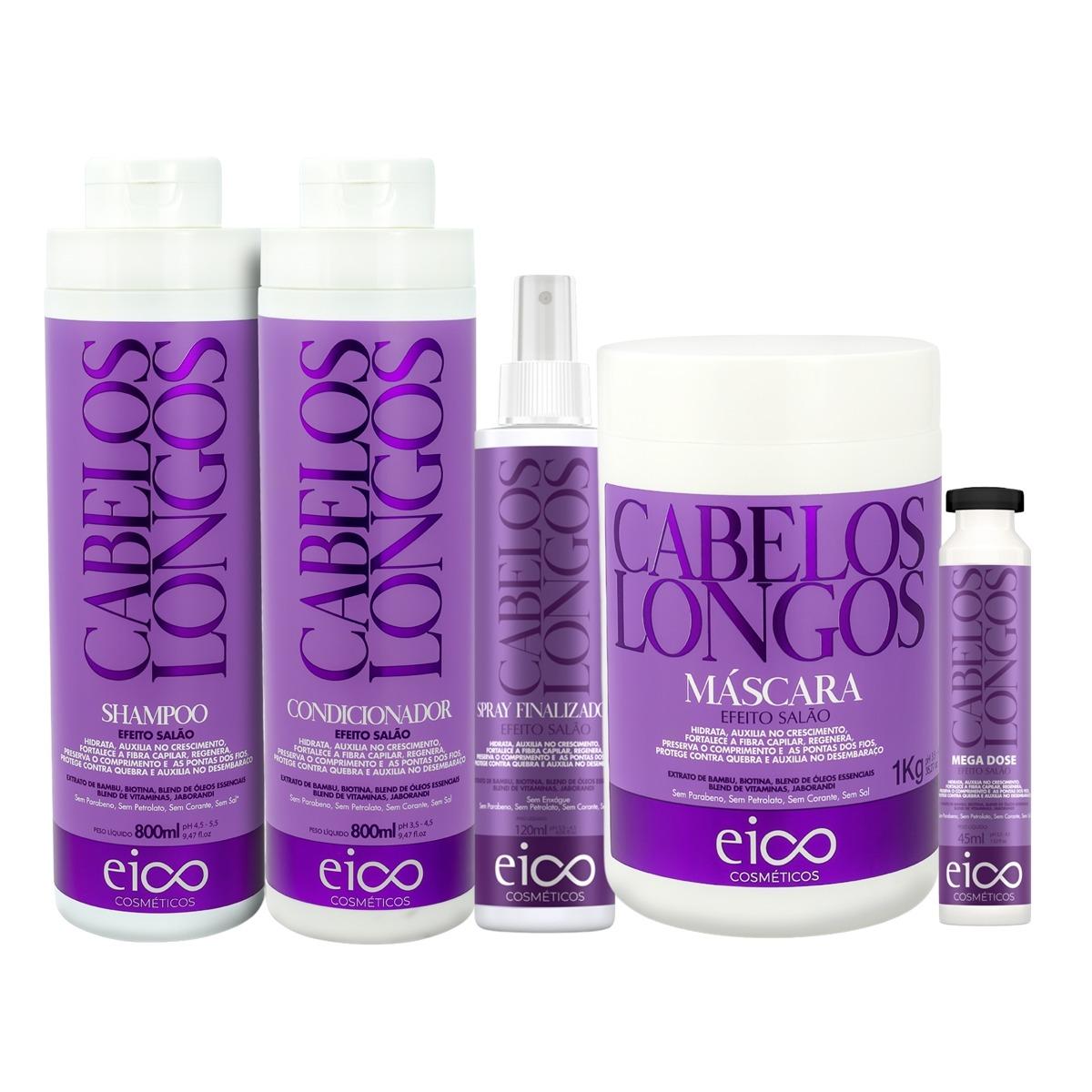 Eico Kit Cabelos Longos Sh + Cond 800ml + Máscara + Spray + Ampola