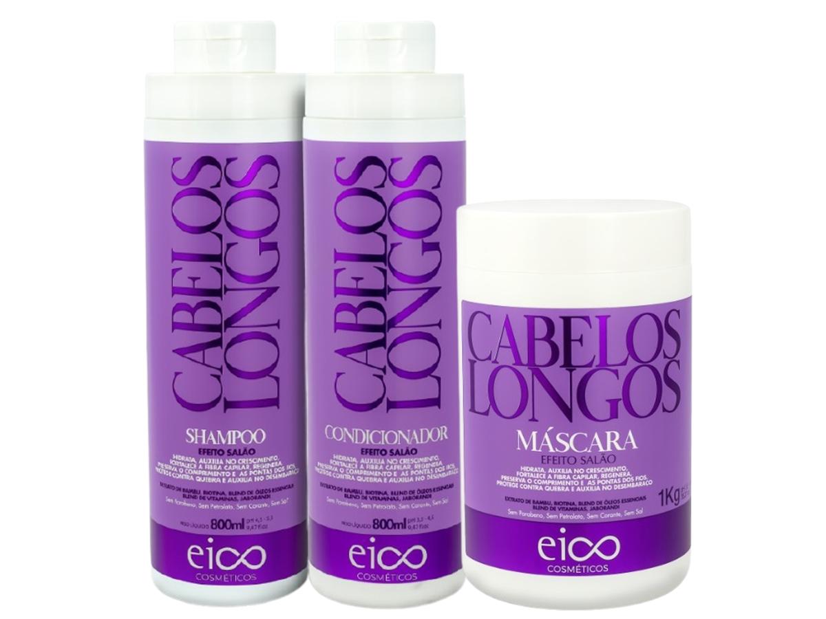 Eico Kit Cabelos Longos Shampoo + Condicionador 800ml + Másc