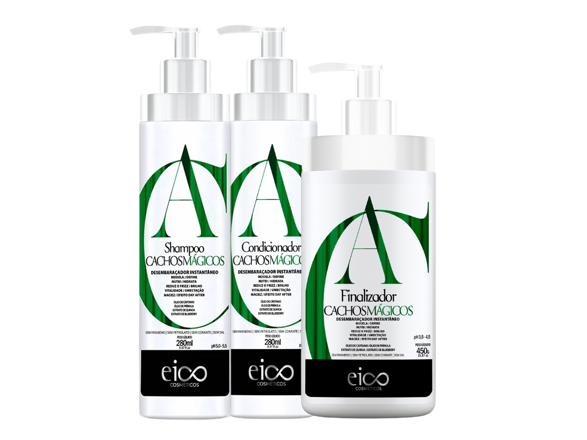 Eico Kit Cachos Mágicos Shampoo + Condicionador + Finalizador