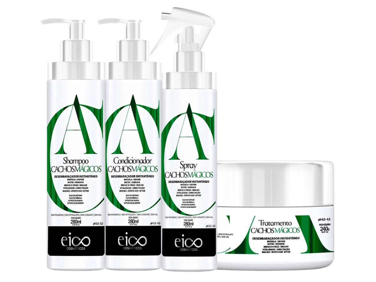 Eico Kit Cachos Mágicos Shampoo + Condicionador + Máscara + Spray