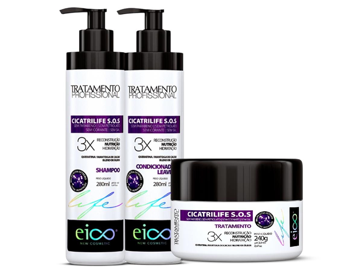 Eico Kit Cicatrilife SOS Shampoo + Condicionador + Máscara