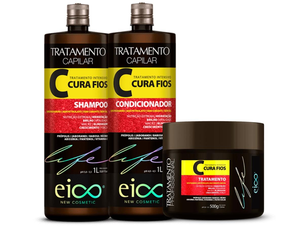 Eico Kit Cura Fios Shampoo + Condicionador 1L + Máscara
