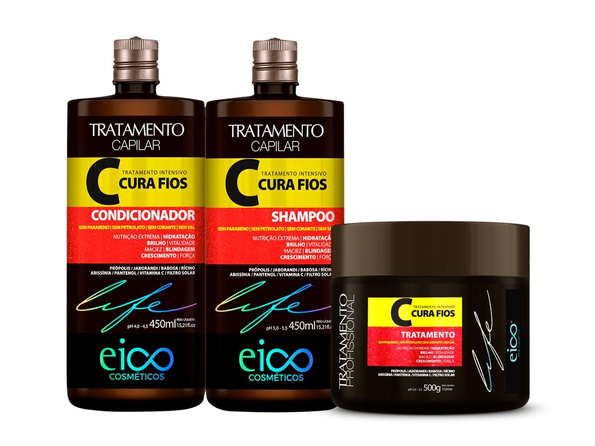 Eico Kit Cura Fios Shampoo + Condicionador 450ml + Máscara