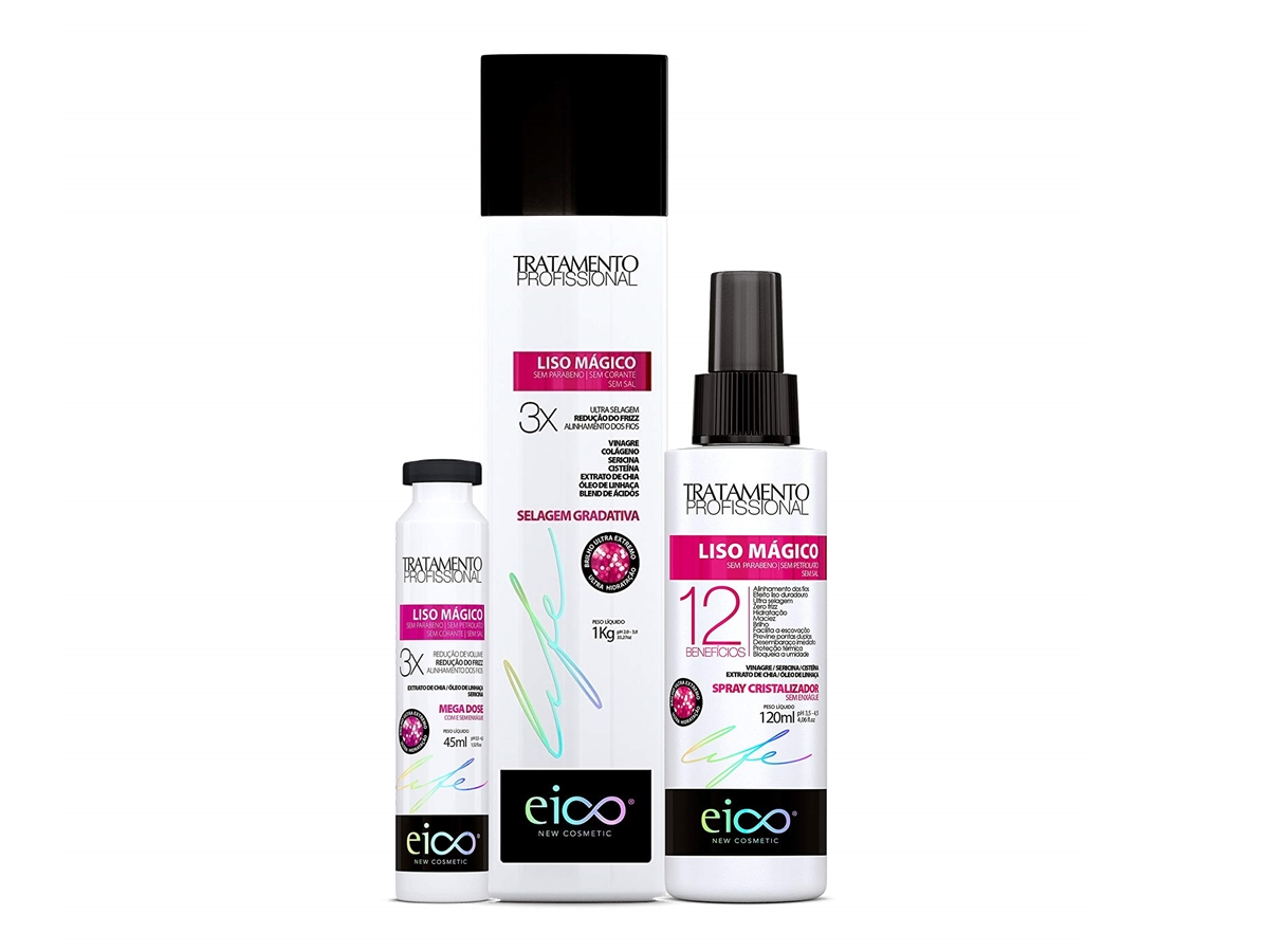 Eico Kit Liso Mágico Selagem 1kg + Spray + Ampola