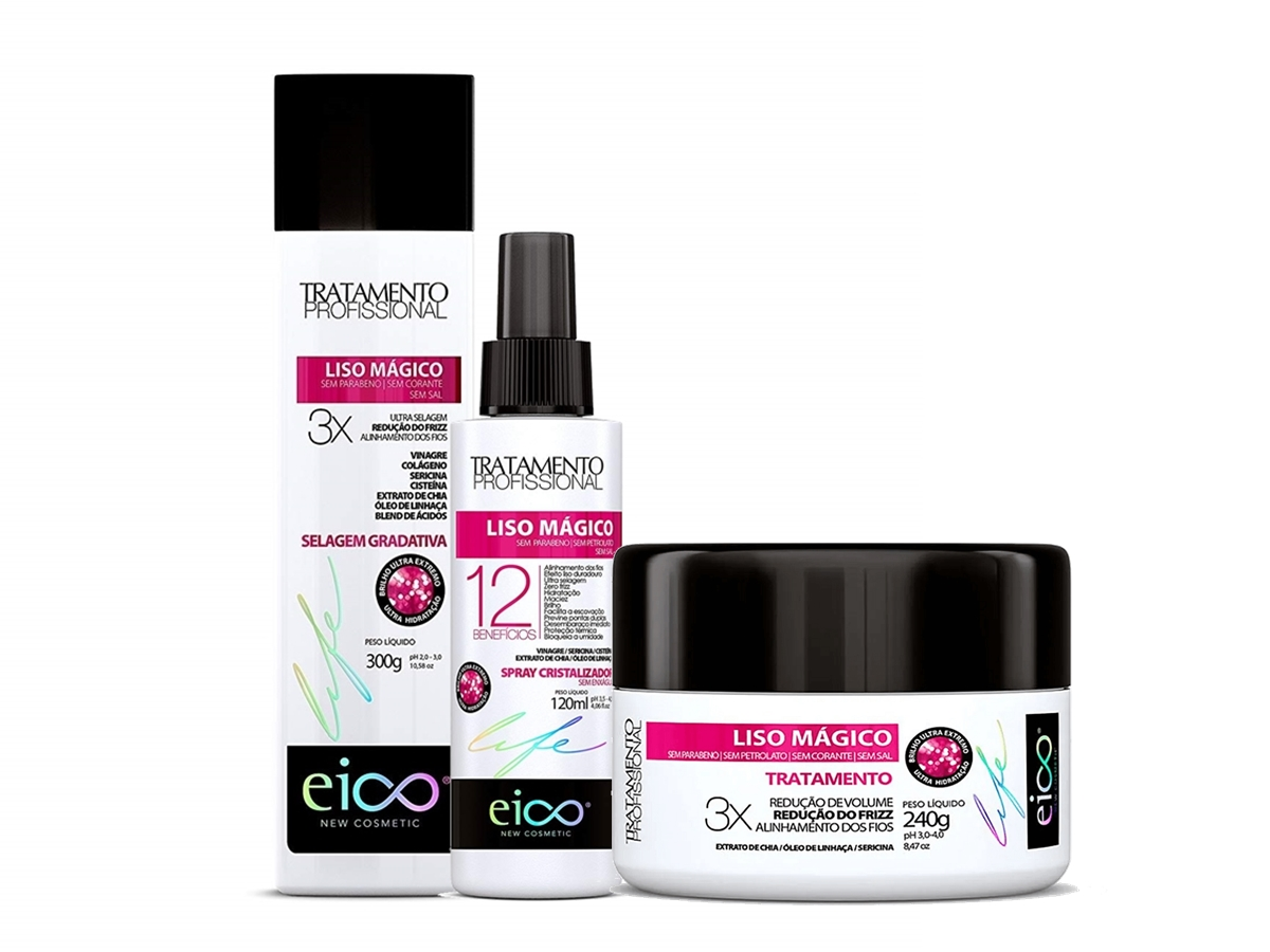 Eico Kit Liso Mágico Selagem 300g + Spray + Máscara