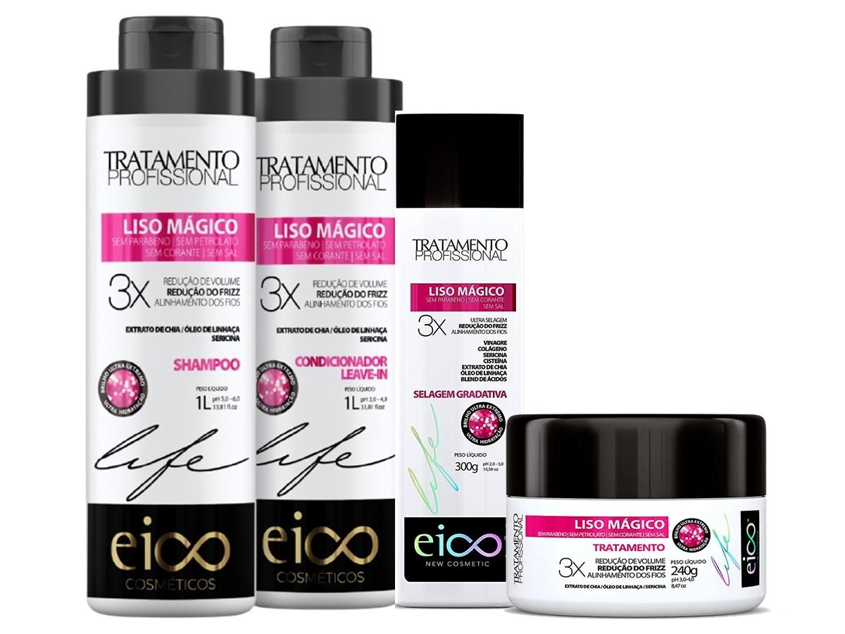 Eico Kit Liso Mágico Shampoo + Cond + Máscara 240g + Selagem