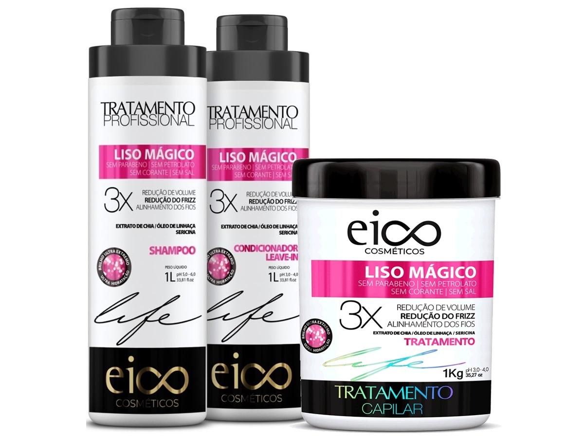 Eico Kit Liso Mágico Shampoo + Condicionador + Máscara 1kg