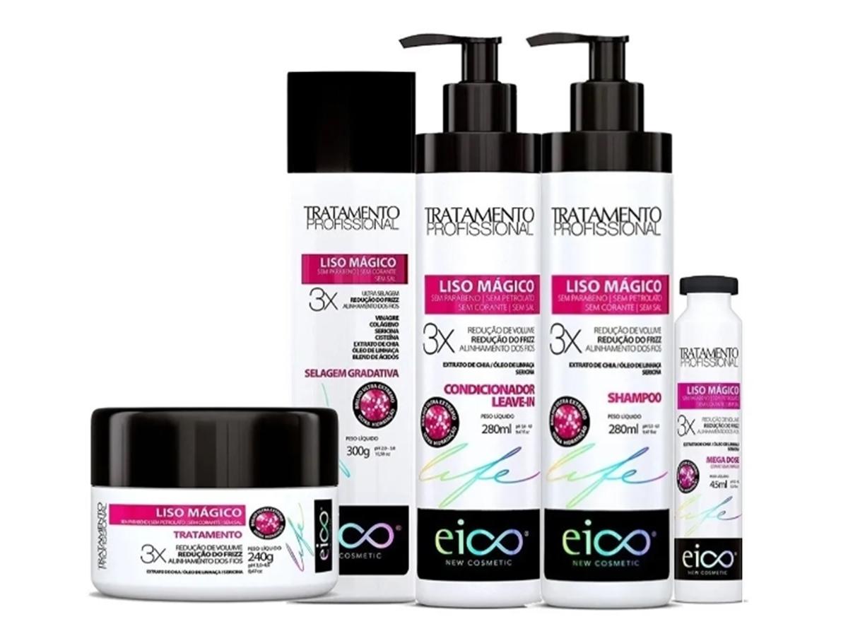 Eico Kit Liso Mágico Shampoo + Cond + Máscara + Ampola + Selagem 300ml