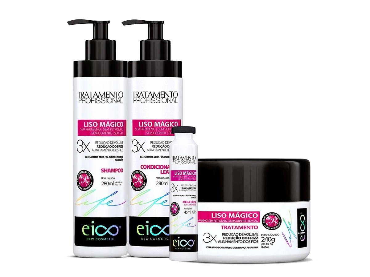 Eico Kit Liso Mágico Shampoo + Condicionador + Máscara + Amp