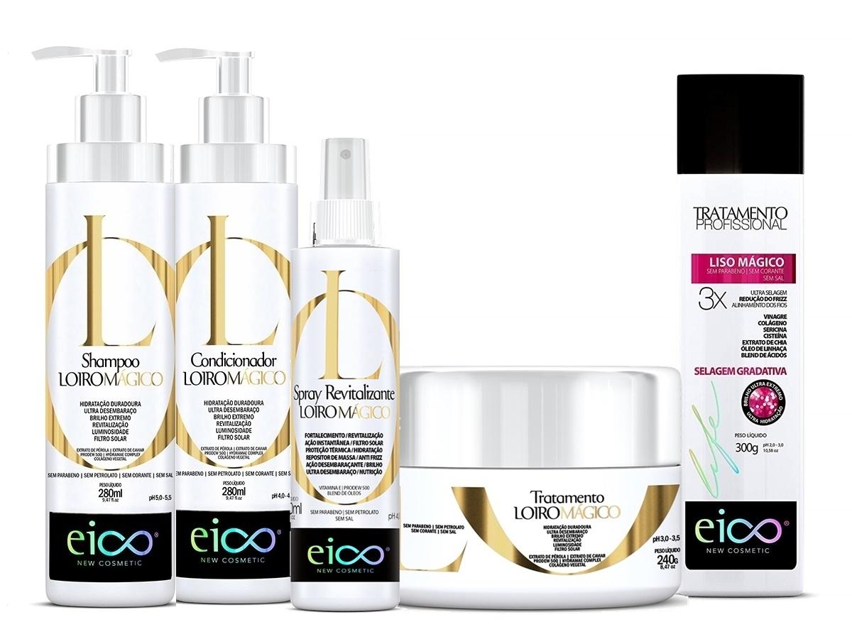 Eico Kit Loiro Mágico Shampoo + Cond + Máscara + Revitalizante + Selagem 300ml