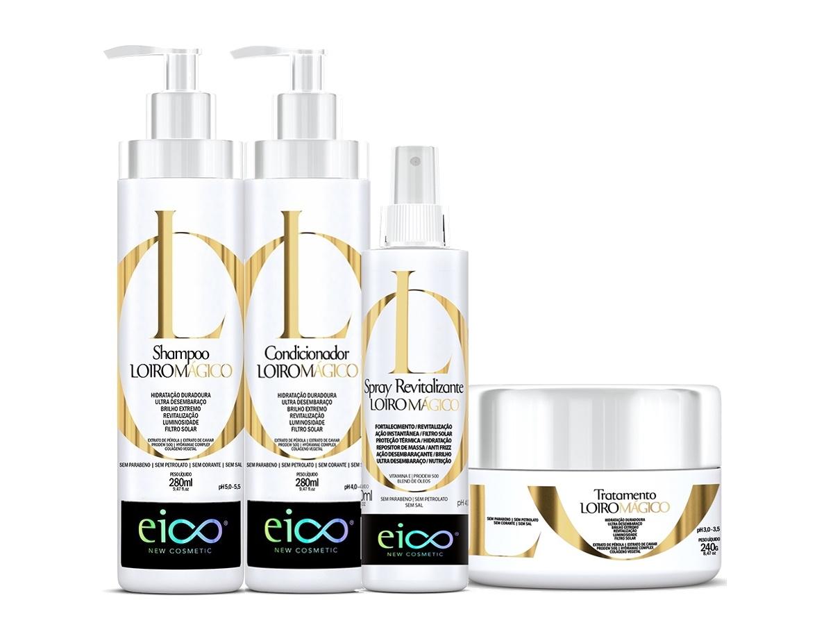 Eico Kit Loiro Mágico Shampoo + Cond + Máscara + Spray Revit