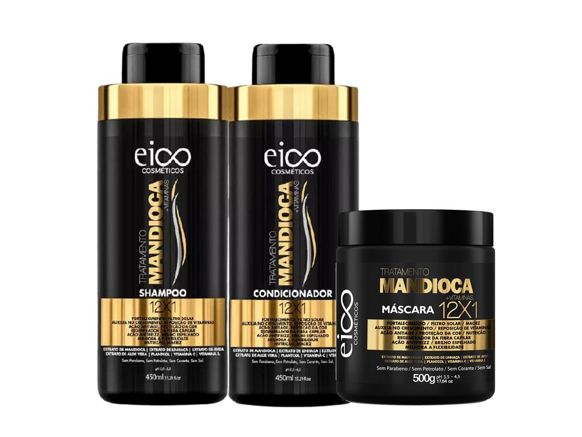Eico Kit Mandioca Shampoo + Condicionador 450ml + Máscara 500g