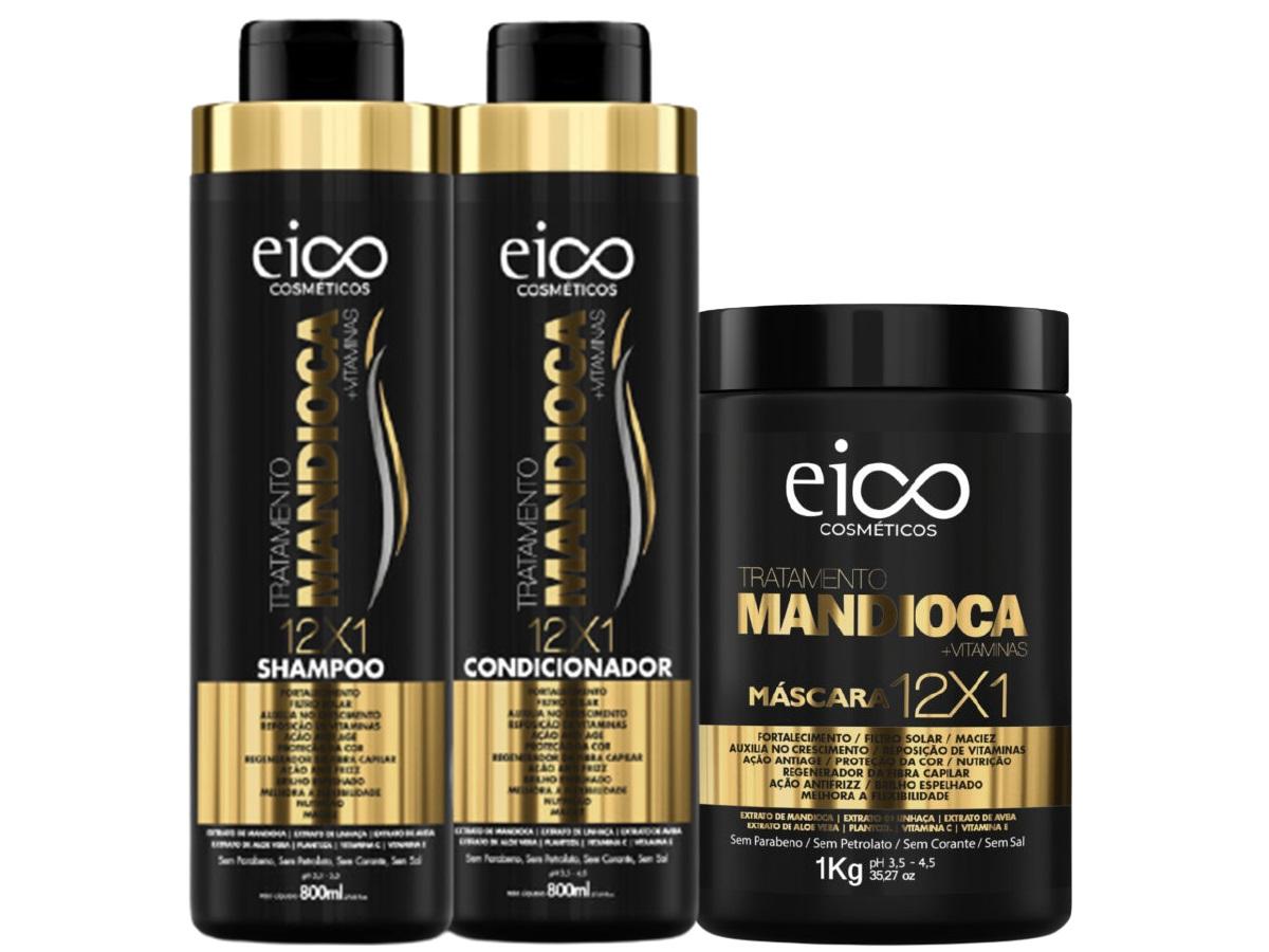 Eico Kit Mandioca Shampoo + Condicionador 800ml + Máscara 1k