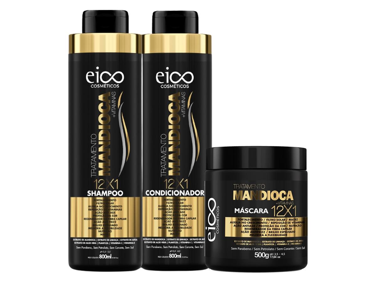 Eico Kit Mandioca Shampoo + Condicionador 800ml + Máscara 500g