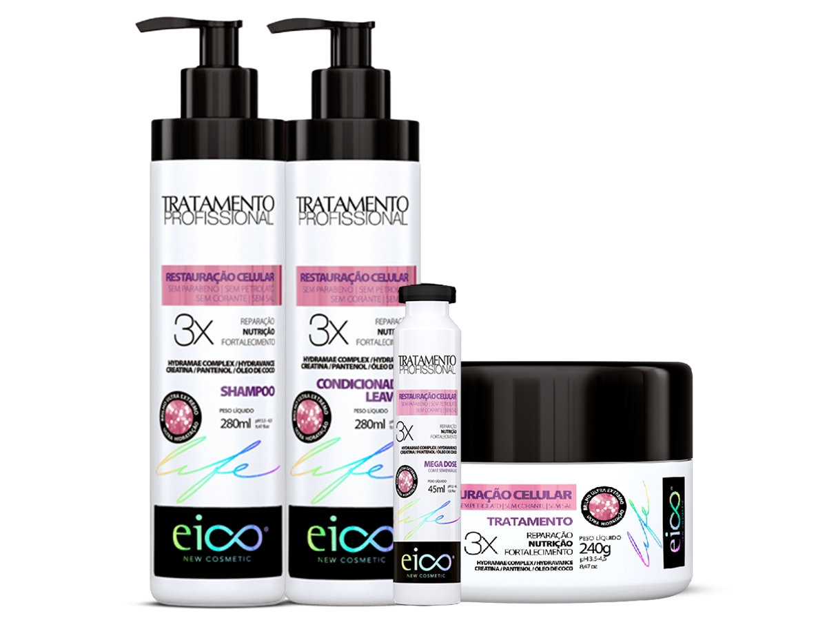 Eico kit Restauração Celular Shampoo + Cond+ Máscara + Ampol