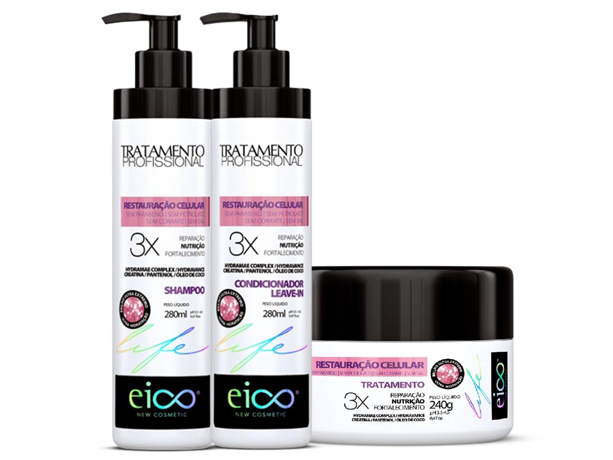Eico kit Restauração Celular Shampoo + Condicionador + Máscara