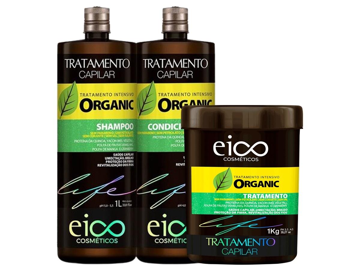 Eico Organic Kit Shampoo + Condicionador 1L + Máscara 1kg